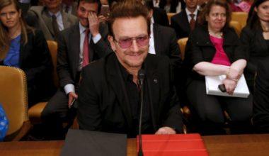 U2 Singer Bono seeks U.S. Senate Backing for Mideast Marshall Plan